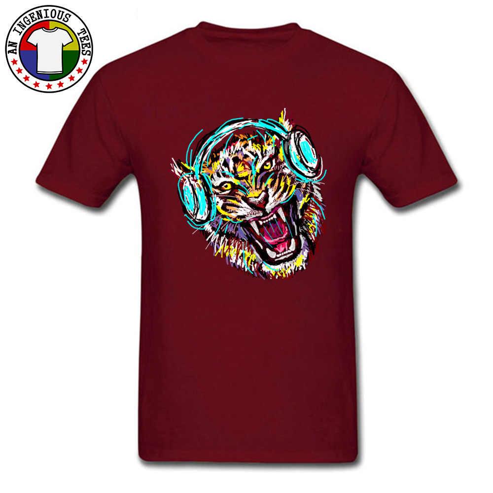 2018 hombres camiseta Cool Wild Music impresa en la camiseta auriculares tigre negro camisetas Fitness Club Band camisetas para hombre joven