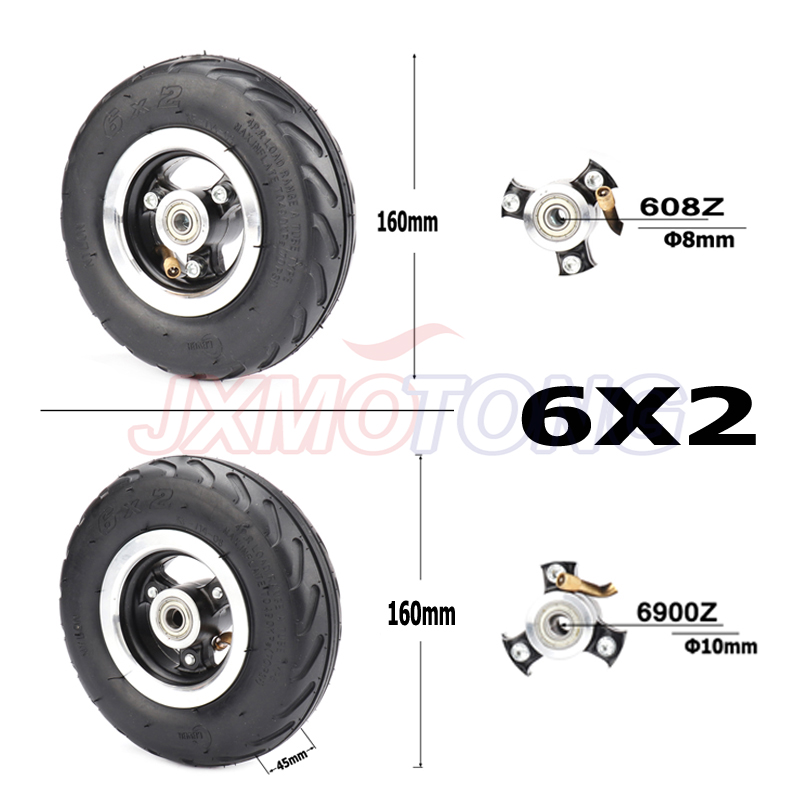 6X2 Inflation Tire Wheel Use 6 Alloy Hub 160mm Pneumatic Tyre Electric Scooter Pneumatic Wheel Trolley Cart Air Wheel M8 / M10