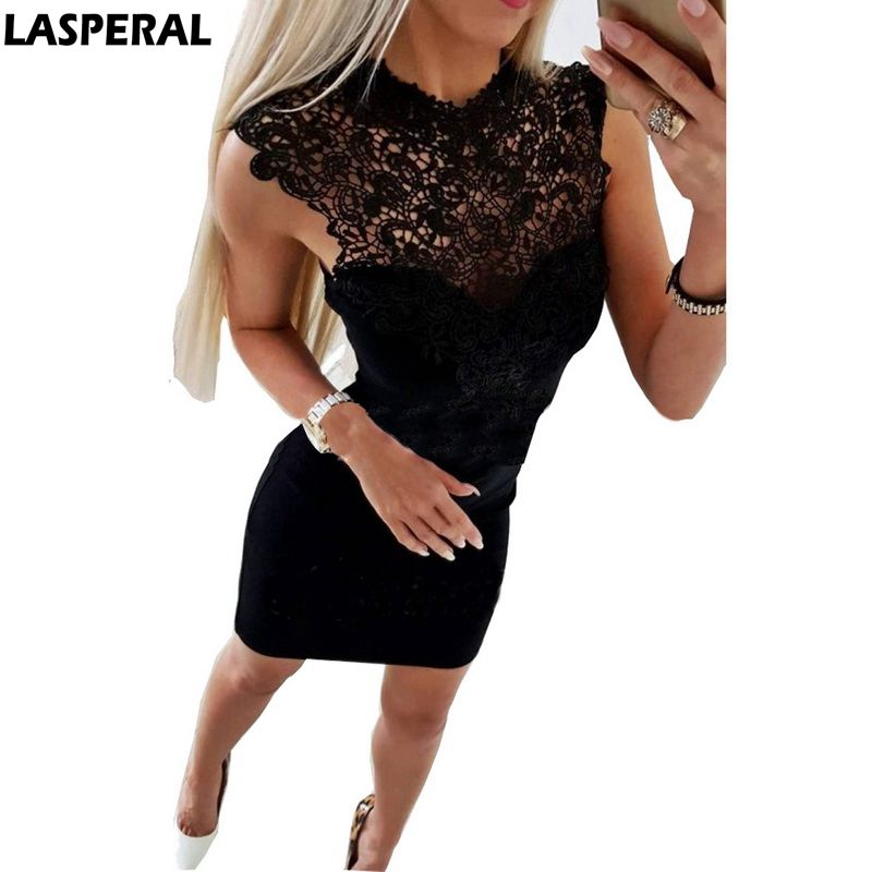 LASPERAL Summer Dress 2018 Women Sexy Bodycon Lace Dress Solid Sleeveless Skinny Dress Evening Party Femme Vestidos Plus Size