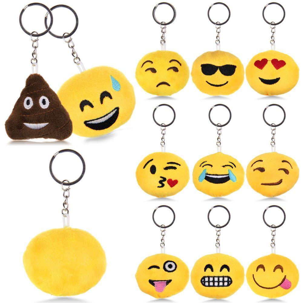 Emoji Smiley Plush Toy Doll Emotion Yellow Soft Cushion Keychain Keyring Decors