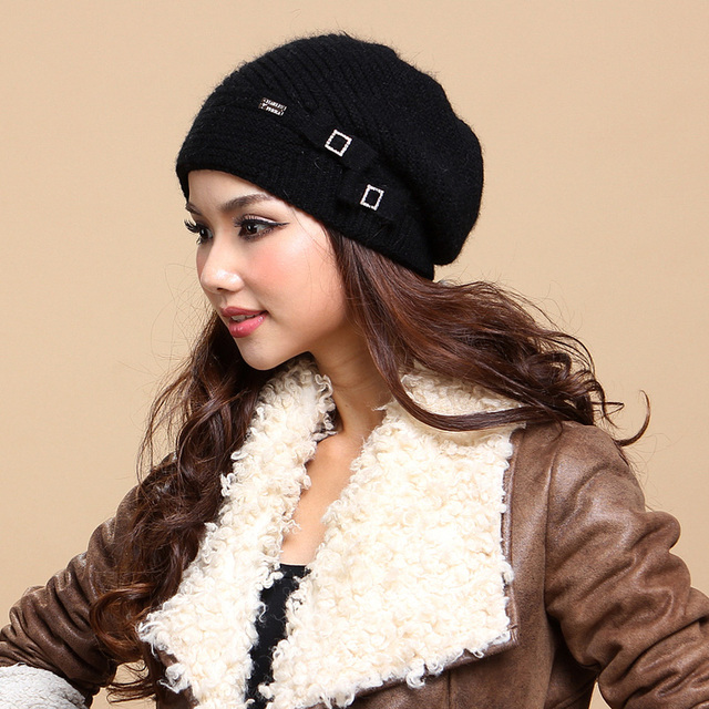 Free Shipping Women Hats Caps Top Quality Wool Knitted Hats Bow Knot Winter Thicken Sullies Beanies For Christmas Gift 132856