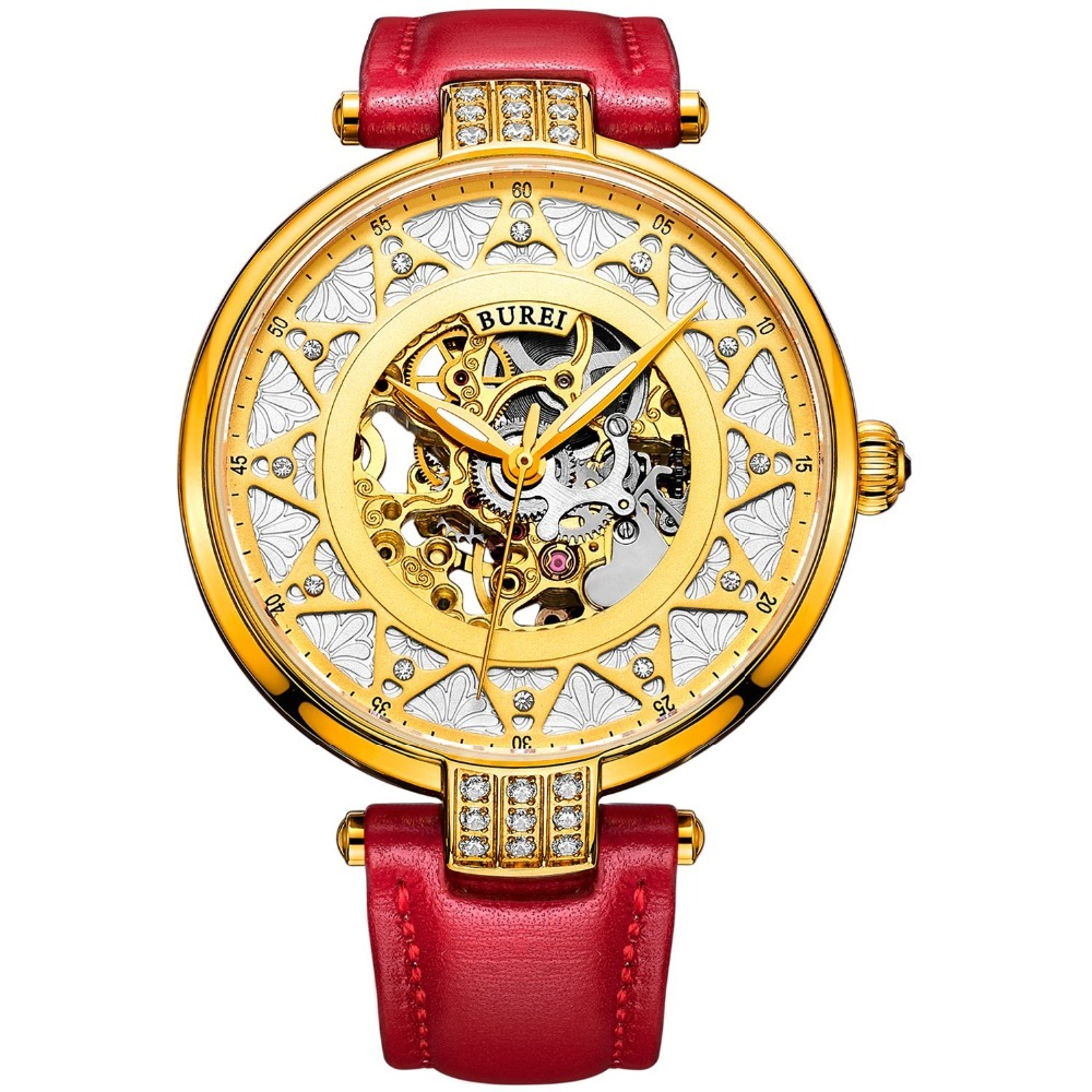 BUREI Luxury Sapphire Ladies Skeleton Automatic Mechanical Watch Waterproof Genuine Leather Wristwatches With Premiums Package winner women luxury brand skeleton genuine leather strap ladies watch automatic mechanical wristwatches gift box relogio releges
