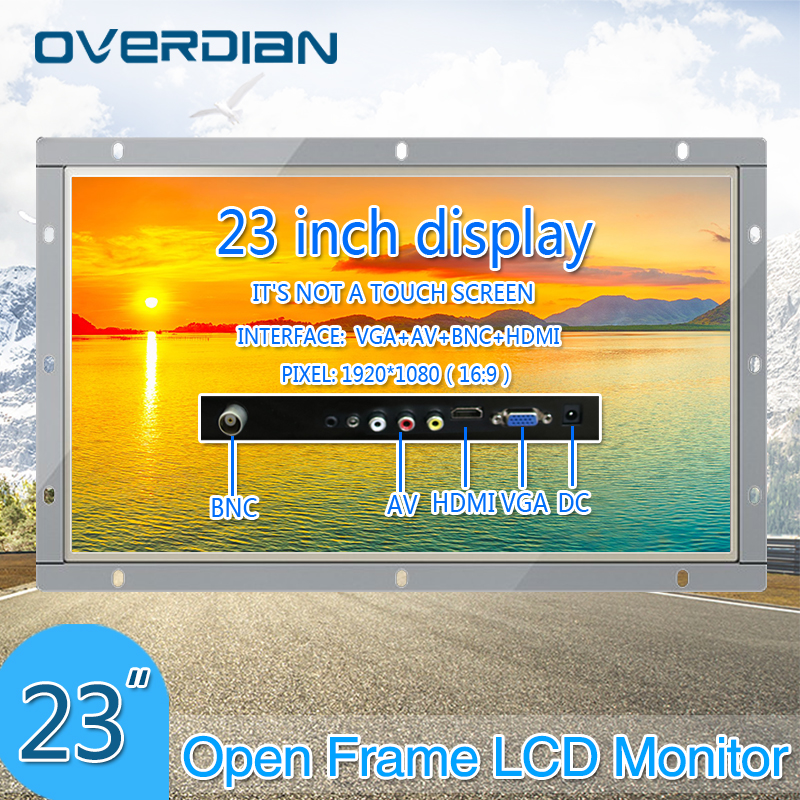 23Inch VGA/HDMI/BNC/AV Connector PC / Lcd Monitor 1920*1080 Non-touch Screen Metal Shell Open Frame Computer Monitor
