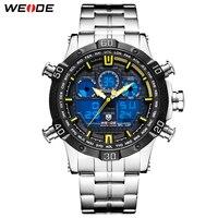 WEIDE Mens Digital Display Sports Stopwatch Auto Date Quartz Back Light Alarm Chronograph Wristwatch Watches Relogio Masculino