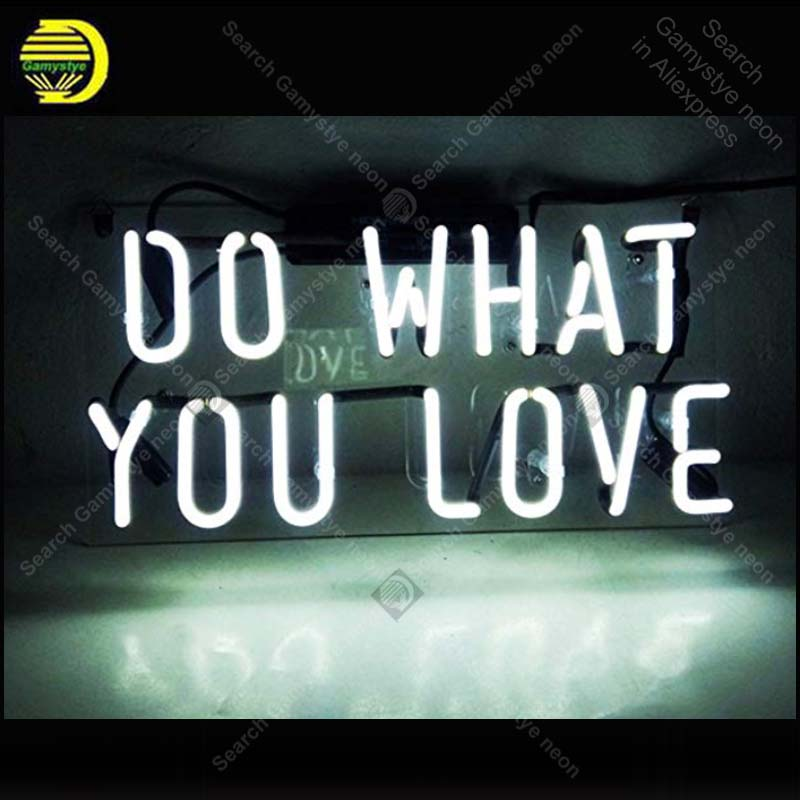 цена Neon Sign Do What You Love Real Glass For Gift Or Home Bedroom Beer Pub Decor Neon Light Signs Bright Iconic Sign Neon Light Art в интернет-магазинах