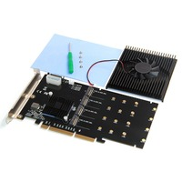 XT XINTE 215*125mm PCI E Adapter Card LM313 PCI E 8X/16X TO 4P M.2 (PCIe protocol) NVME Riser Card for 2242 2260 2280 22110 SSD