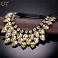 U7 mulheres colar fita choker de cristal branco champagne pedra bohemia declaração bib colar maxi 2016 nova n528