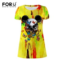 FORUDESIGNS Summer Brand Women Dress Skull Printed Graffiti Butterfly Dresses Gothic Punk Lady Dress Tops Party