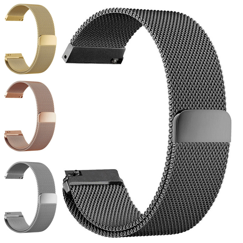 Malla milanesa lazo Correas de reloj 16 MM 18mm 20mm 22mm 24mm plata Rosa Oro Negro pulsera correa de reloj magnético Extensiones