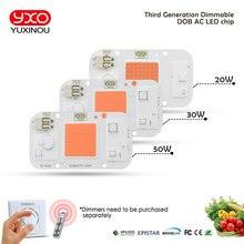 Lámpara LED regulable DOB para cultivo de plantas de interior, con entrada de espectro completo de 220V, CA de 20W, 30W, 50W, Chip COB de flores