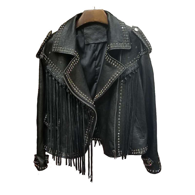 2019 Top Quality Real Sheepskin   Leather   Jacket For Women Fashion Diamond Tassel Design Motorcle Female Jacket Chamarras De Mujer