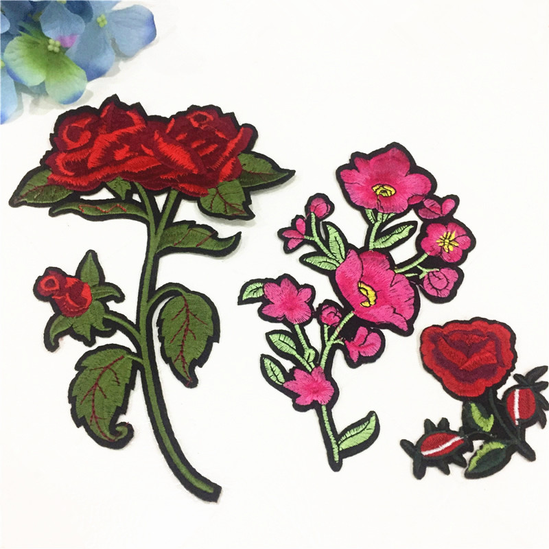 3Pcs/set Top Patches Iron-On Sew-On Red Rose Flower Embroidery Patch Motif Applique Fashion Women DIY Clothes Flori Sticker Big