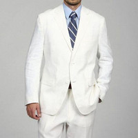 New Arrival Custom Mens Suits White Wedding Suits For Men Notched Lapel Slim Fit Grooms Tuxedos Two Piece Groomsmen Suit K2