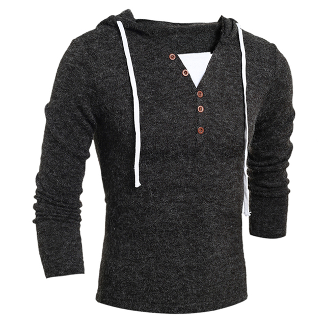 Autumn Winter Men Fashion Casual V Neck Button Long Sleeve Sweater Solid Color Slim Knitting Hooded Sweater 4 Size Optional Hot!