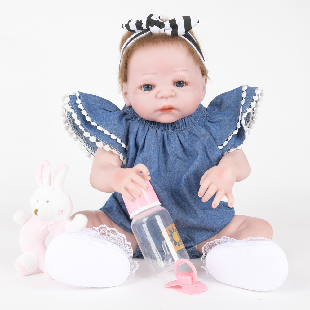 55cm Soft Full Silicone Reborn Baby Newborn Realistic Princess Girl Doll for Kids Toy Christmas Birthday New Year Gift недорого