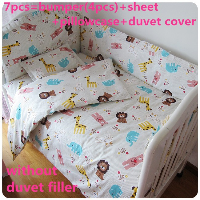 Promotion! 6/7PCS baby bedding crib set 100% cotton crib bumper baby cot sets,Duvet Cover,120*60/120*70cm promotion 6 7pcs baby cot bedding crib set bed linen 100% cotton crib bumper baby cot sets free shipping 120 60 120 70cm
