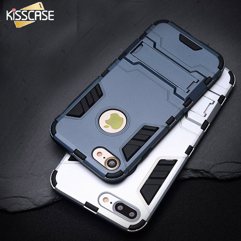 KISSCASE Cool Armor Case For iPhone 6 6s 7 Plus 5s SE 5 Hybrid Shockproof Phone Cases For iPhone 7 6 6s Plus Anti-knock Cover<