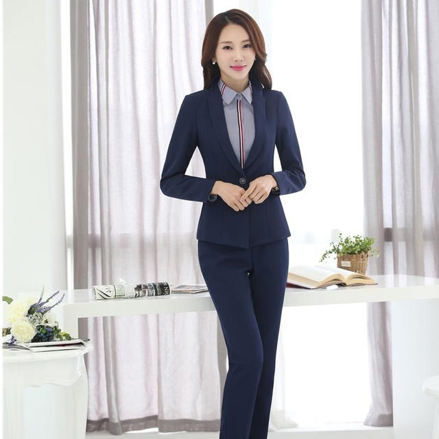 Formal Blue Slim Fashion Professional Pants Suits With Jackets And