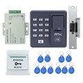 Lector de RFID completo dedo X6 escáner biométrico de huellas digitales de control de acceso + electric huelga lock + power + botón de salida + tarjetas llave