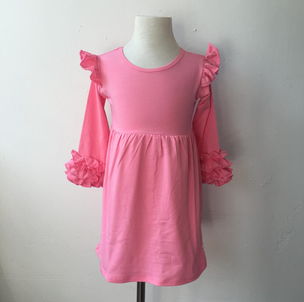 Wholesale Solid Colors Cotton Knit Icing Dress Long Flutter Sleeve Chocker Slice Top Blouse Baju Atasan Wanita Bl899 Frocks Kids Clothes Toddler Baby Girls Dresses In From Mother On