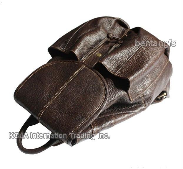 Fashion Women Leather Backpack Women Backpack For Teenage Girls Genuine Leather School Bag Female Drawstring Bag Bagpack Brown #2
