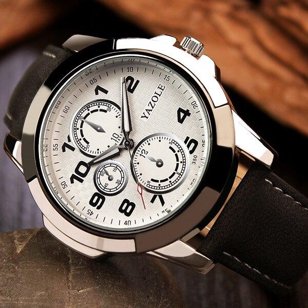Nueva Llegada Relojes de Cuarzo Yazole Hombres Correa de Cuero de - Relojes para hombres - foto 5