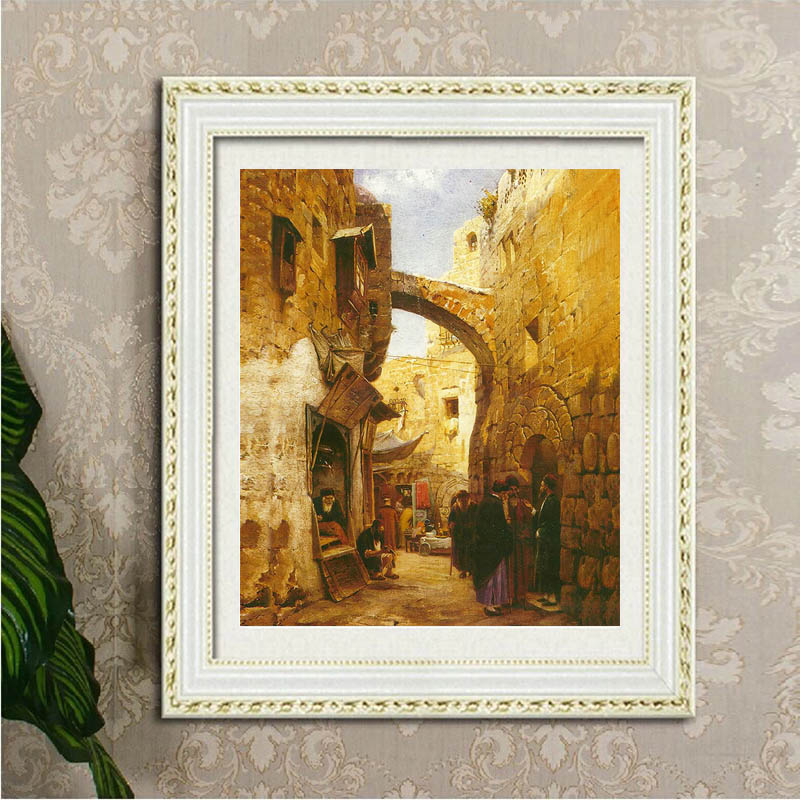 Unframed Oil Painting Jerusalem: The Last Supper Streetscene In Jerusalem Canvas Wall Art Picture For Home Decor Painting