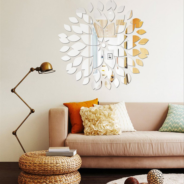 Leaves Wall Art 3D DIY Acrylic Mirror Wall Sticker Ceiling Restaurant Wall  Decals Flower Mirror Stickers