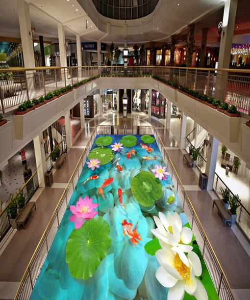 [Self-Adhesive] 3D Beautiful Lotus Pond 2 Non-slip Waterproof Photo Self-Adhesive Floor Mural Sticker WallPaper Mural Wall Print