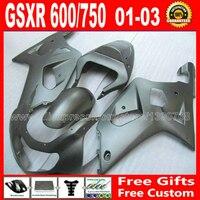 Полный комплект обтекатель для 2001 2003 горячая распродажа плоский черный SUZUKI GSXR 600 750 кузов K1 # бесплатную доставку ойл GSX R600 R750 01 02 03