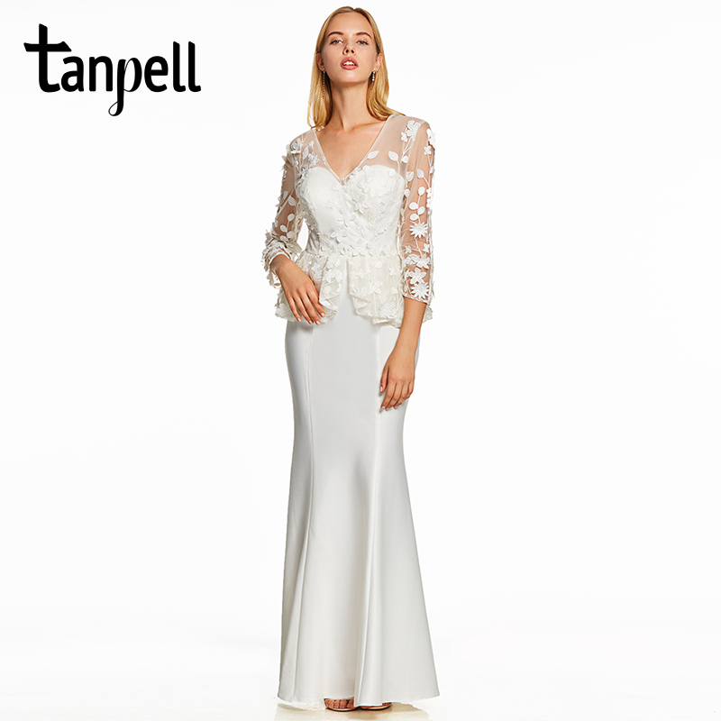 Tanpell appliques evening dress elegant ivory v neck full sleeves sheath floor length dresses women formal long evening gown-in Evening Dresses from Weddings & Events    1