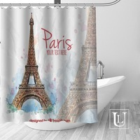 High Quality Custom Eiffel Tower Shower Curtain Polyester Fabric Bathroom Curtain Hooks Mildew Resistant Bathroom Decor