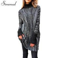 Simenual סוודרים סוודרי מעשה טלאים הארוך jumper חולצות גולף של נשים בציר מזדמנים רזה סרוגות בסוודרים בגדי נשי