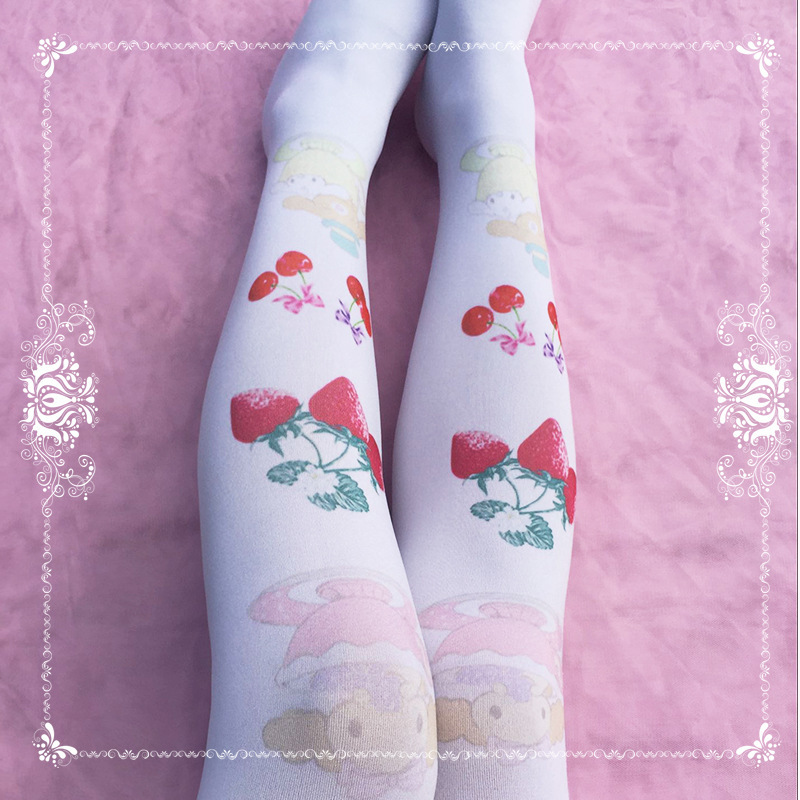 PYJTRL Sweet Lolita Cherry Strawberry Print Soft Comfortable Pantyhose Young Ladies Tights Women Harajuku Kawaii Pantys Mujer