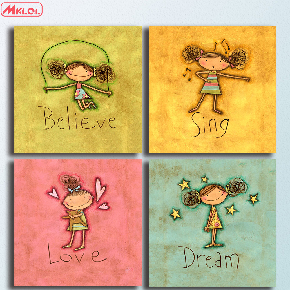 4PCS/set Canvas painting Oil Painting wall art Modern cartoon girl ...