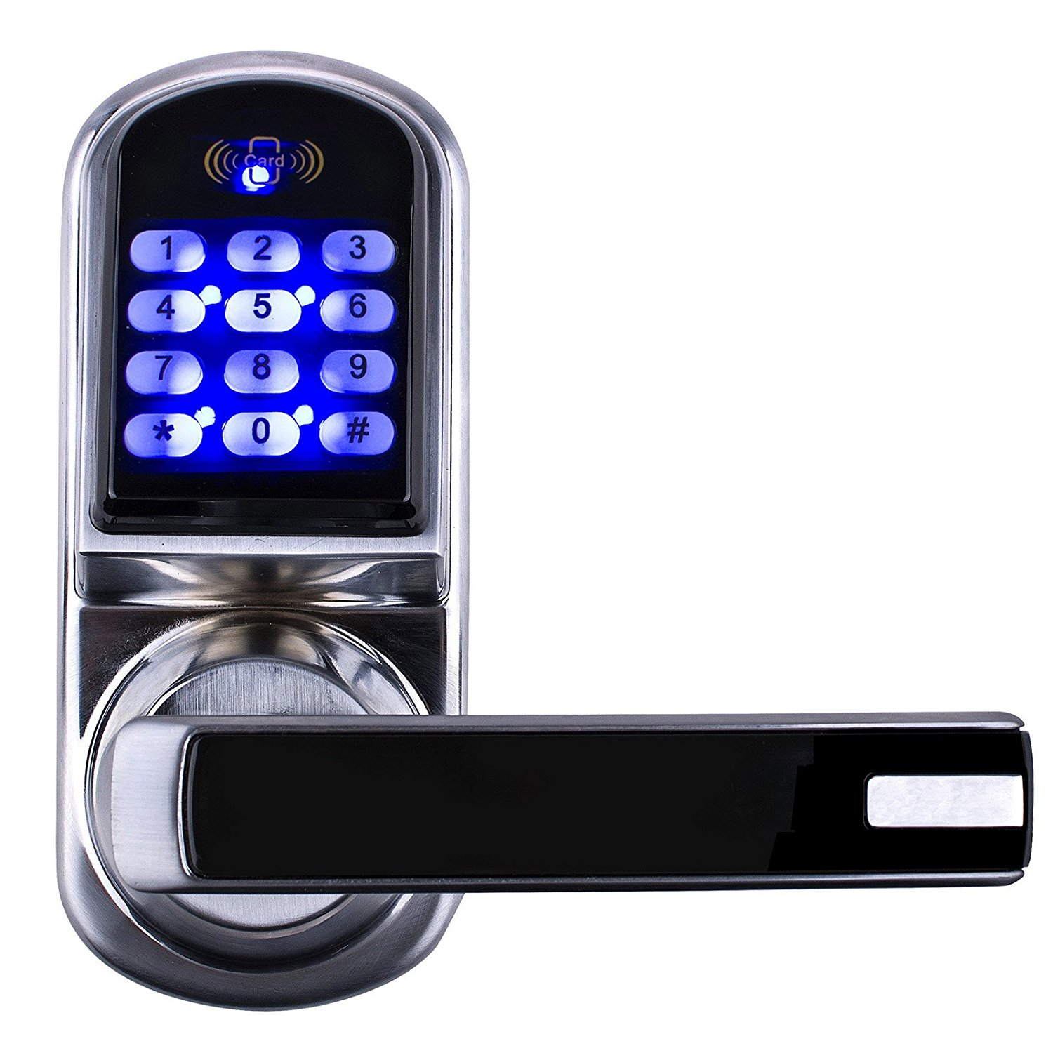 Electronic Door Locks Remote Control Password 2 Mechanical Keys Keypad Digital Code Lock Keyless Smart Entry