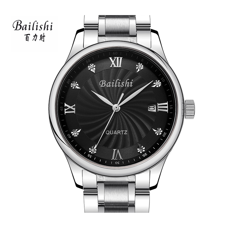 BAILISHI Silver Fashion Quartz Watch Diamonds Hour Stainless Steel Wrist Watch Male Brand Luxury Waterproof Men's Sport Watches bailishi top luxury brand men watches diamonds hour stainless steel sports wrist watch male causal quartz male watch waterproof