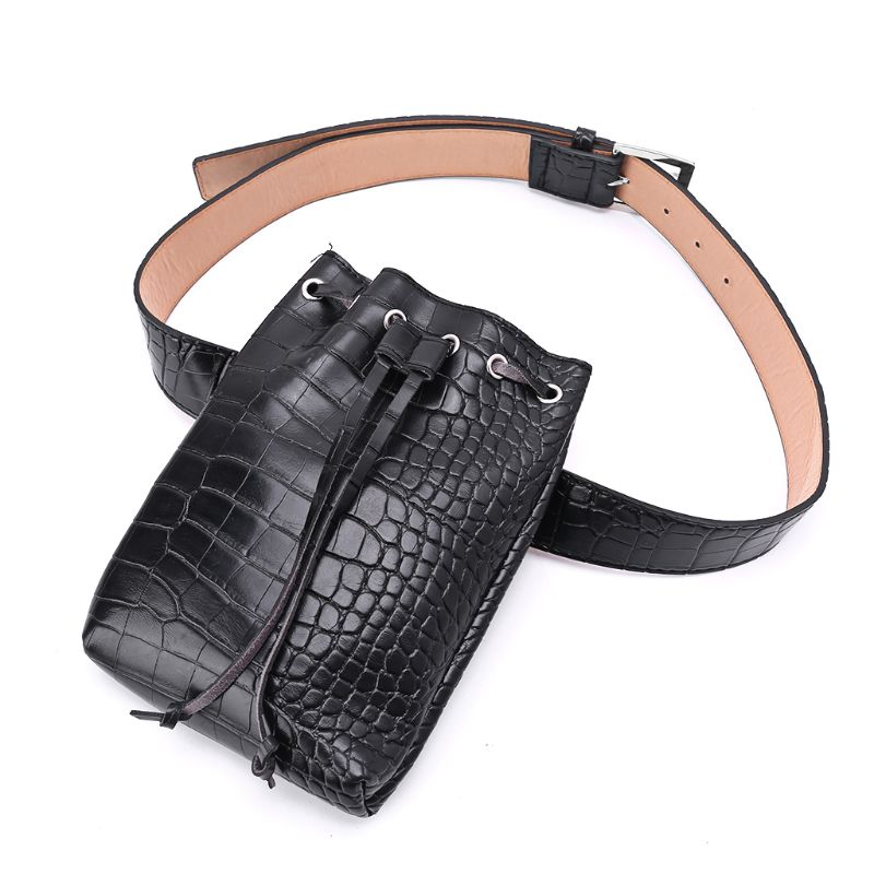 Alligator Pattern Waist Fanny Pack Belt Phone Pouch Travel Bag Women's PU Leather Small Purse Drawstring
