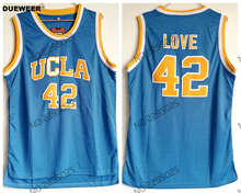 3c55402c3 DUEWEER Mens Throwback Basketball Jerseys  42 Kevin Love Jerseys UCLA  College Basketball Stitched Blue Shirts
