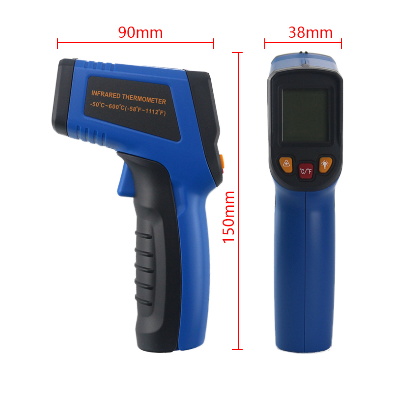 HTB1aH0ljtzJ8KJjSspkq6zF7VXaU Handheld Non-contact IR Infrared Thermometer Digital LCD Laser Pyrometer Surface Temperature Meter Imager C F Backlight -50~600C