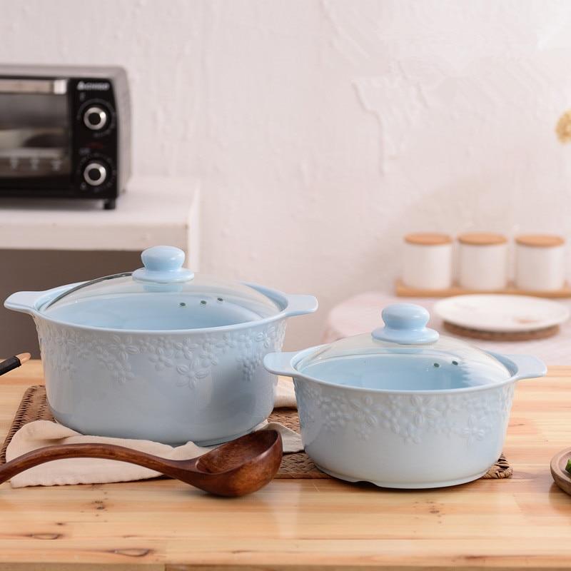 Alta Temperatura hueso jade de ollas de cerámica escultura arte tapa de  vidrio 1.6L/3.3L olla de sopa| | - AliExpress