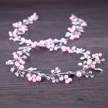 Pink Pearl Headband Wedding Hair Jewelry For Bride Long Headband Rhinestone Tiara Hair Accessories High Quality Copper Line 98cm