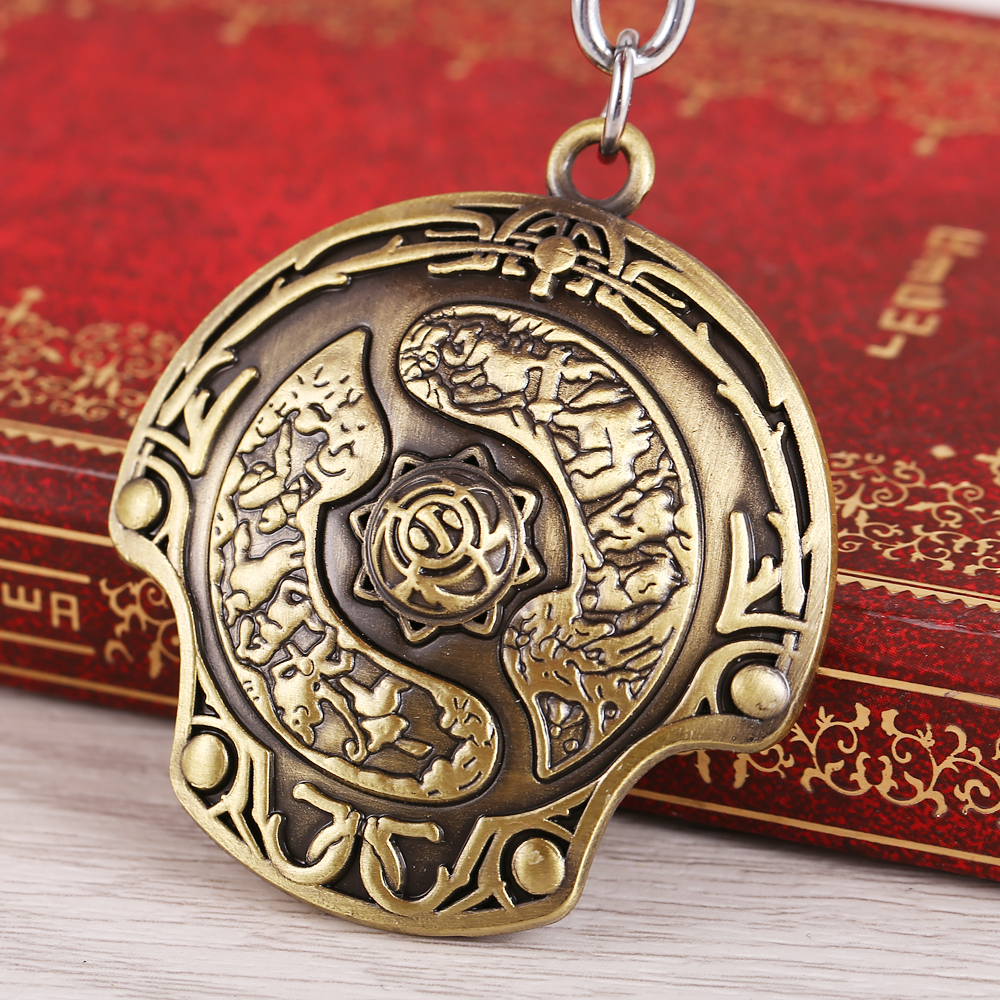 MS JEWELS Game Dota 2 Keychain Alloy Immortal Champion Shield Bronze Metal Key Rings For Chaveiro Key Chain
