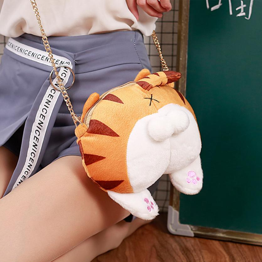 Girl Women Bag Cute Cat Butt Tail Plush Handbag Crossbody Shoulder Bags Cartoon Zipper Small Mini Bag Purse Package Drop Ship #T feral cat women small shell bag pvc zipper single shoulder bag luxury quality ladies hand bags girls designer crossbody bag tas