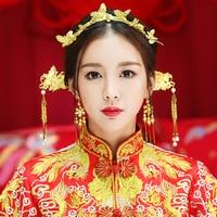Eleganz Chinesischen Vintage Hochzeit Braut Haarschmuck Set Gold Farbe Schmetterling Kopfschmuck Ornament Quaste Haken Ohrringe Haar Stick