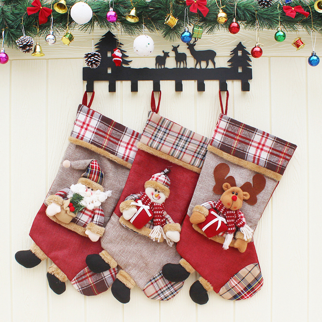 3d creative christmas stocking decoration ornaments cartoon santa claus snowman socks christmas decorations for home fireplace