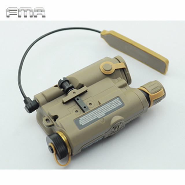 Original FMA Tactical Military Airsoft AN/PEQ-15 Battery Box Laser Red Dot Laser With White LED Flashlight and IR Lens Tan/BK