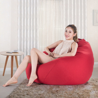 Bean Bag Sofa Cover Chairs Pouf Puff Linen Cloth Lazy BeanBag Sofas Without Filling Lounger Seat Tatami Living Room Furniture