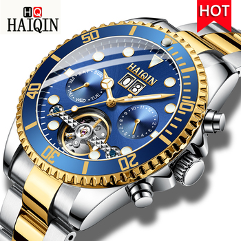 HAIQIN Watch Men Automatic Tourbillon Mechanical Watch Luxury Brand Military Wristwatch Mens Sport Clock Relogio Masculino