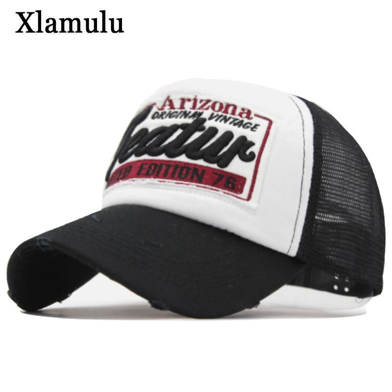 Xlamulu de moda de la marca de las mujeres gorra de béisbol bordado de  malla sombreros 8b22eda545c